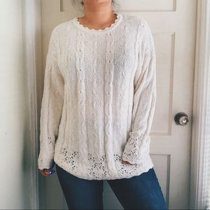 Vintage White Cable Lace Knit Crewneck Sweater